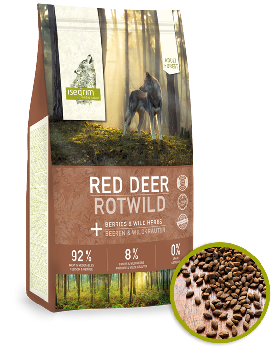 ISEGRIM Forest ADULT Red Deer with Berries GRAIN FREE 12kg - JELEN, KUŘE A LESNÍ PLODY