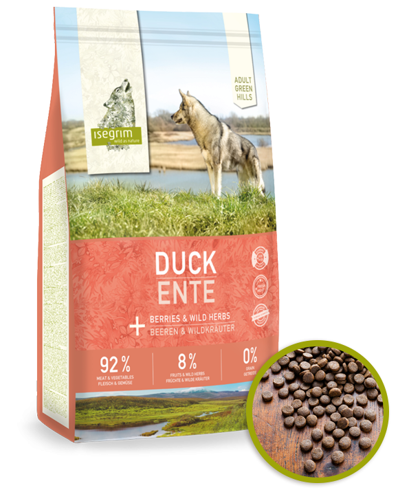 ISEGRIM Green Hills ADULT Duck with Berries Grain Free 12kg - KACHNA A LESNÍ PLODY